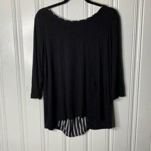 Rose & Olive Black Long Sleeve Pleated Top Large